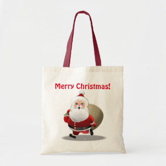 Funny Santa Claus With A Sack Full Of Gifts Tote Bag