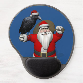 Funny Santa Claus With Common Raven Gel Mouse Pad