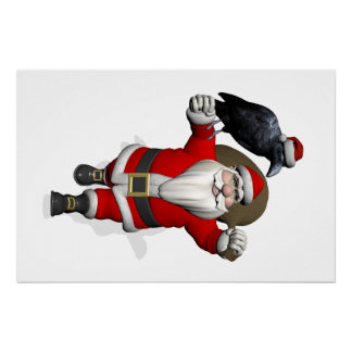 Funny Santa Claus With Common Raven Poster