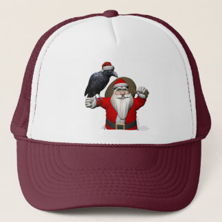 Funny Santa Claus With Common Raven Trucker Hat