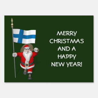 Funny Santa Claus With Ensign Of Finland Yard Signs