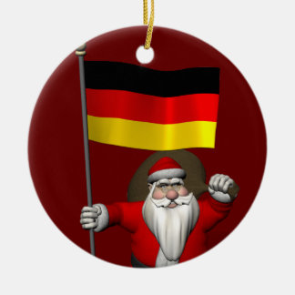 Funny Santa Claus With Ensign Of Germany Ceramic Ornament