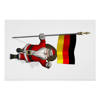 Funny Santa Claus With Ensign Of Germany Poster