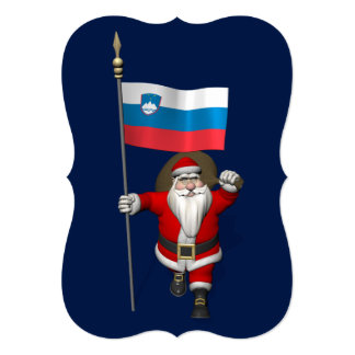 Funny Santa Claus With Ensign Of Slovenia Card