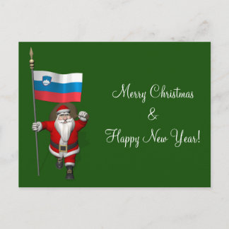 Funny Santa Claus With Ensign Of Slovenia Holiday Postcard