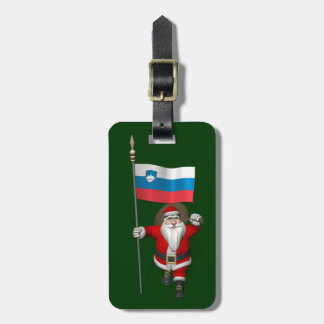 Funny Santa Claus With Ensign Of Slovenia Luggage Tag