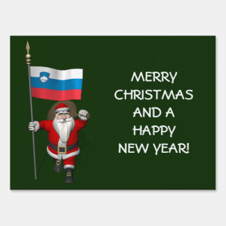 Funny Santa Claus With Ensign Of Slovenia Lawn Signs