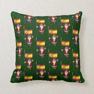 Funny Santa Claus With Ensign Of Spain Throw Pillows