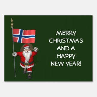 Funny Santa Claus With Flag Of Norway Signs