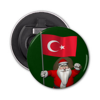 Funny Santa Claus With Flag Of Turkey Bottle Opener