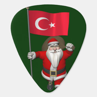Funny Santa Claus With Flag Of Turkey Guitar Pick