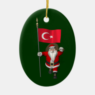 Funny Santa Claus With Flag Of Turkey Ornaments