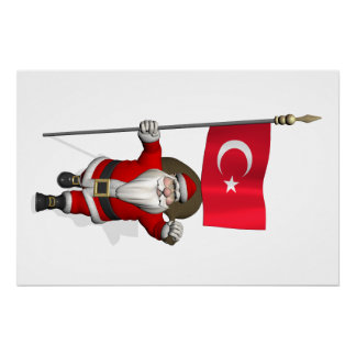 Funny Santa Claus With Flag Of Turkey Poster