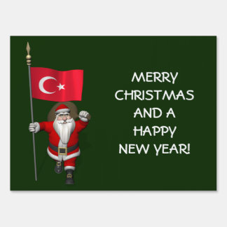 Funny Santa Claus With Flag Of Turkey Sign
