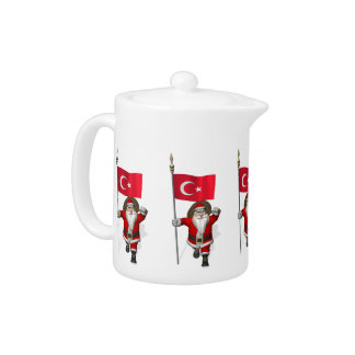 Funny Santa Claus With Flag Of Turkey Teapot