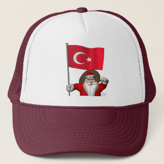 Funny Santa Claus With Flag Of Turkey Trucker Hat