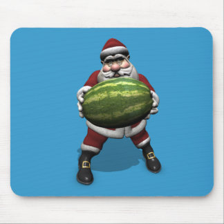 Funny Santa Claus With Giant Melon Mouse Pad