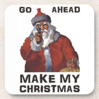 Funny Santa Clause aiming gun - make my Christmas! Drink Coasters