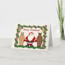 Funny Santa Clause with Horses Merry Christmas Holiday Card