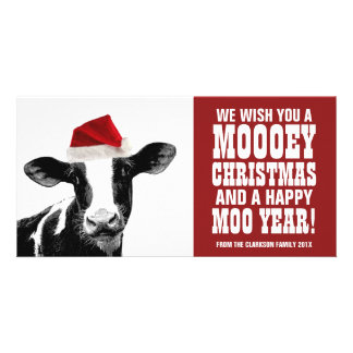 Funny Santa Cow Mooey Christmas Dairy Farm Card