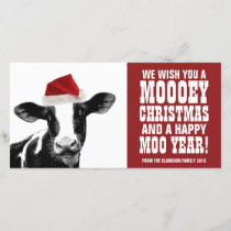 Funny Santa Cow Mooey Christmas Dairy Farm Holiday Card