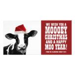 Funny Santa Cow Mooey Christmas Dairy Farm Photo Card