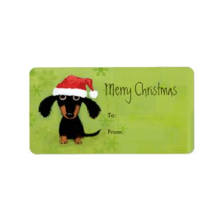 Funny Santa Dachshund Christmas label