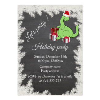 Funny Santa dinosaur Chalkboard  holiday party Card