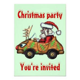 "Funny Santa driver Christmas party invitation card 5"" X 7"" Invitation Card"