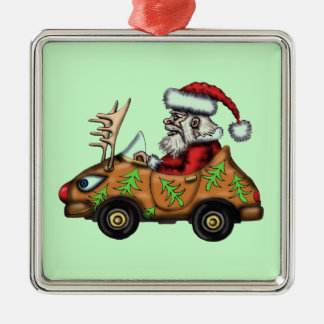 Funny Santa driver on Rudolph car tree ornament