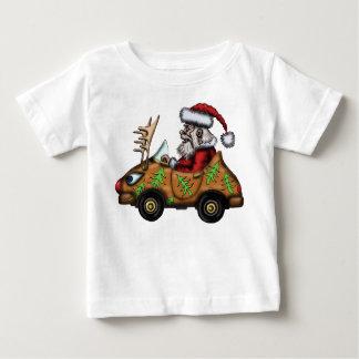 Funny Santa driving Rudolph car baby t-shirt
