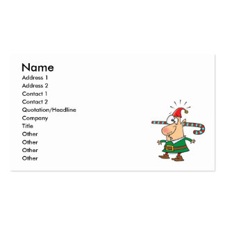 funny santa elf with candy cane thru ears business card template