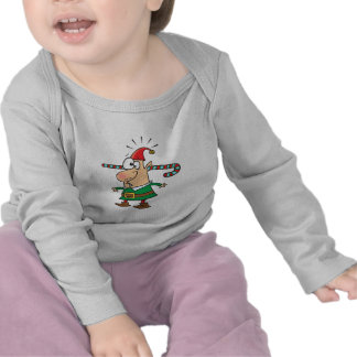 funny santa elf with candy cane thru ears tees