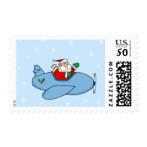 Funny Santa Flying an Airplane Postage Stamps