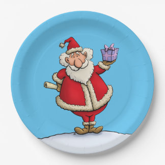 funny santa gift delivery christmas cartoon paper plate