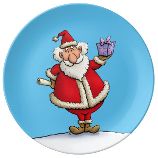 funny santa gift delivery christmas cartoon porcelain plate