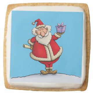 funny santa gift delivery christmas cartoon square shortbread cookie