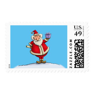 funny santa gift delivery christmas cartoon stamp
