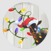 Funny Santa Goat and Christmas Lights Classic Round Sticker