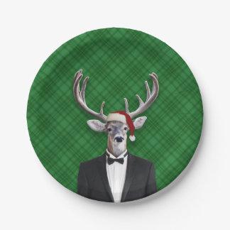 Funny Santa Hat Christmas Deer Green Plaid Paper Plate