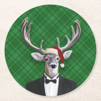 Funny Santa Hat Christmas Deer Green Plaid Round Paper Coaster