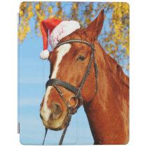 Funny Santa Hat Horse Christmas iPad Smart Cover