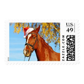 Funny Santa Hat Horse Christmas Postage