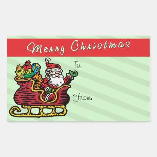 Funny Santa in his Sleigh Rectangular Sticker