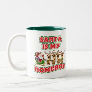 Funny Santa Is My Homeboy Christmas Gift Two-Tone Coffee Mug
