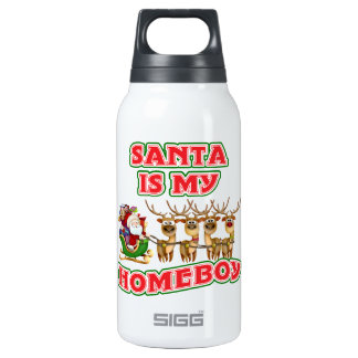 Funny Santa Is My Homeboy Christmas Insulated Water Bottle