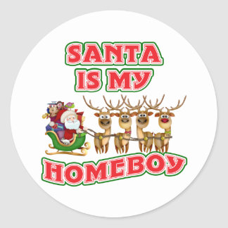 Funny Santa Is My Homeboy Classic Round Sticker