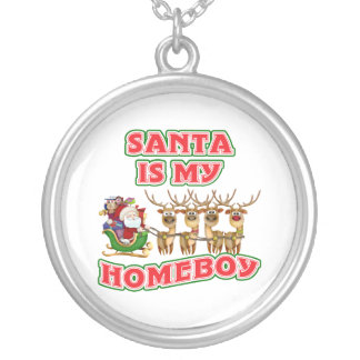 Funny Santa Is My Homeboy Silver Plated Necklace