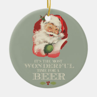 Funny Santa Most Wonderful Time For A Beer Photo Ceramic Ornament