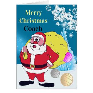 Funny Santa Netball Coach Christmas Greeting Card